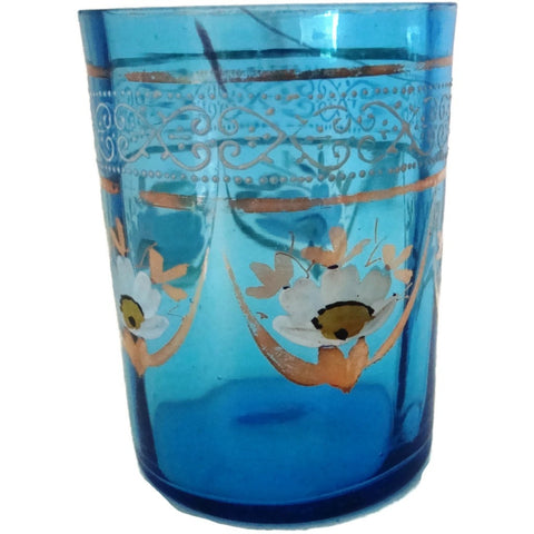Antique Victorian blue glass tumbler, hand painted floral (c 1900s) - Selective Salvage