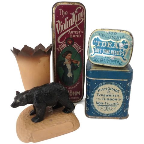 Vintage smalls, celluloid bear tooth pick holder & 3 tins, 1920's - Selective Salvage
