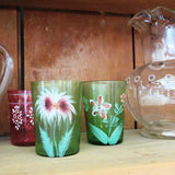 Antique Victorian green glass tumbler, floral hand painted (c 1900s) - Selective Salvage