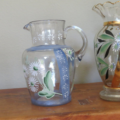 Antique hand painted glass pitcher, cottage style (c 1900s)