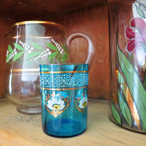 Antique Victorian blue glass tumbler, hand painted (c 1900s)