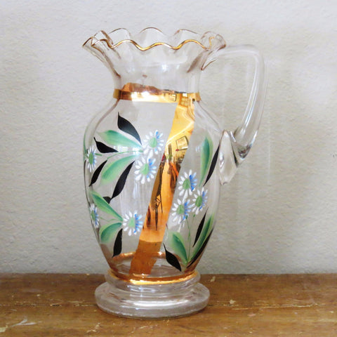 Antique Victorian hand painted glass pitcher (c 1900s) - Selective Salvage