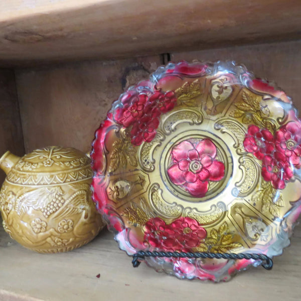 Antique painted Goofus glass bowl, wild rose design carnival glass (c 1900s) - Selective Salvage
