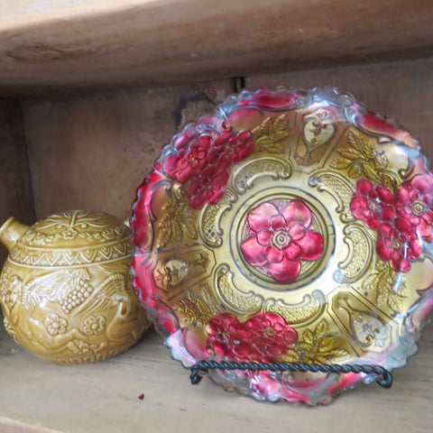 Antique Goofus glass bowl, painted wild rose design (c 1900s) - Selective Salvage