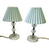 Vintage glass dresser lamps pair,  cottage style decor (c 1940s) - Selective Salvage