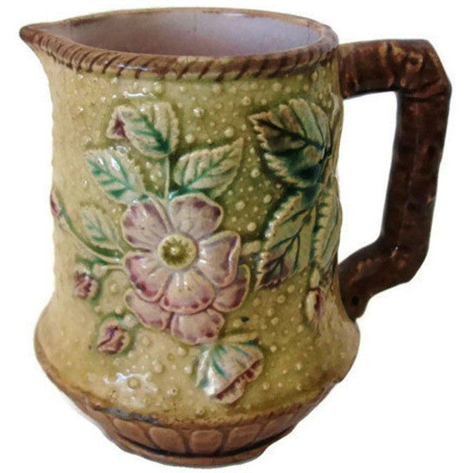 Antique Majolica cream pitcher, dogwood floral motif (c 1800s) - Selective Salvage