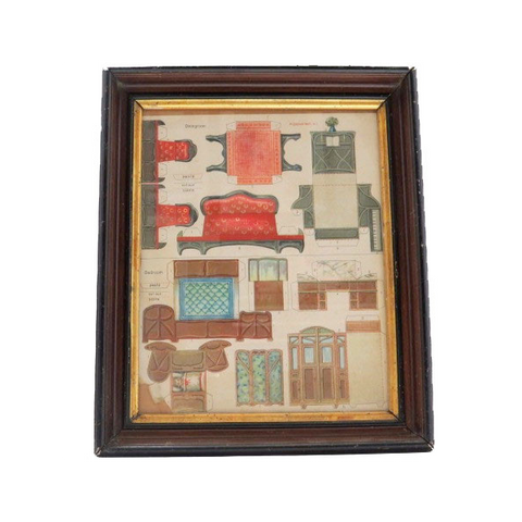 "Uncut framed ""McLoughlin Bros."" paper doll furniture, dining room and bedroom (c late 1800s) - Selective Salvage"