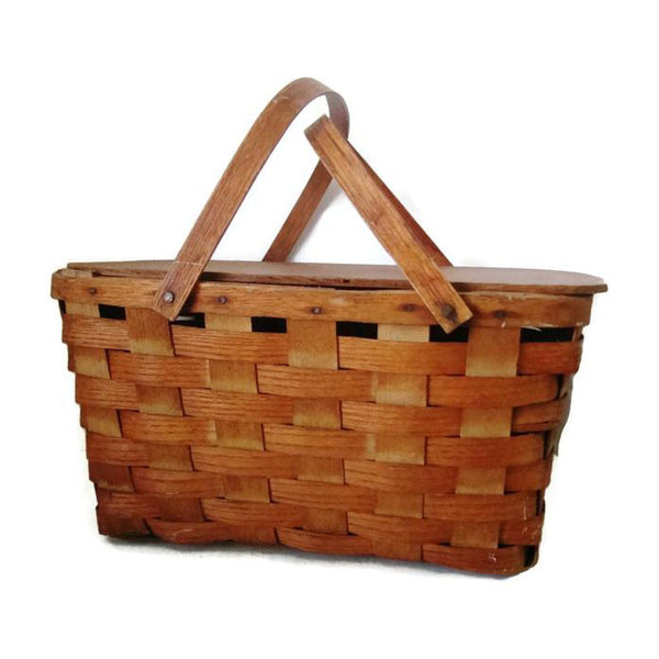 "Vintage splint Burlington ""Hawkeye"" picnic basket (c 1950s) - Selective Salvage"