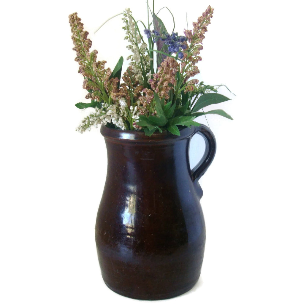 Antique Albany slip glaze pitcher (c late 1800s)