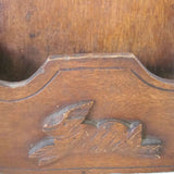 Antique folk art wall box, hand carved rabbit detail (c 1900s) - Selective Salvage