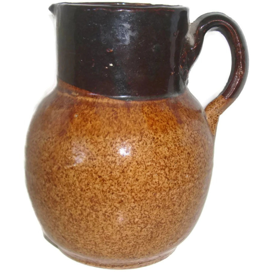 Antique stoneware pitcher, slip glaze, slip glazed (c 1900s) - Selective Salvage
