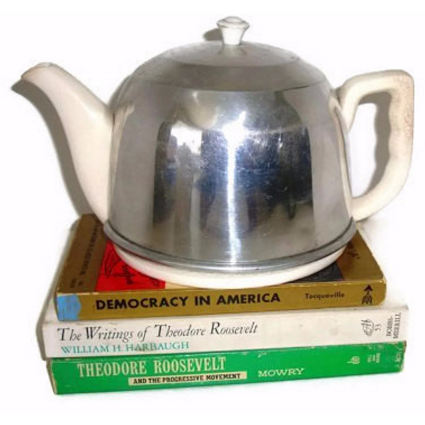 "Vintage ceramic tea pot with aluminum ""cozy"" cover (c 1940s) - Selective Salvage"