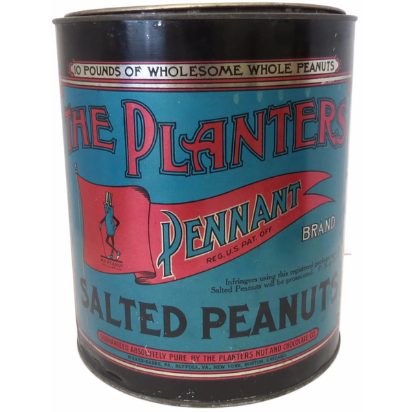 "Vintage ""Planters Peanuts"" commercial store tin (c 1920s) - Selective Salvage"