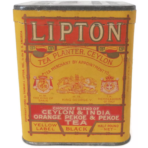 "Vintage ""Lipton orange pekoe tea"" tin, paper label  (c 1920s)"