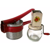 Vintage kitchen utensils, red potato ricer and nut grinder (c 1940s) - Selective Salvage