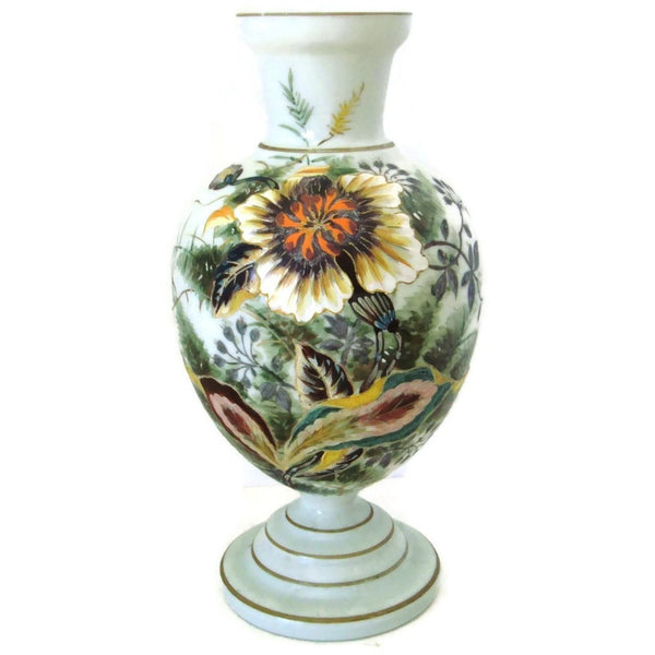 Antique Victorian milk glass vase, hand painted sunflower design (c 1900s) - Selective Salvage