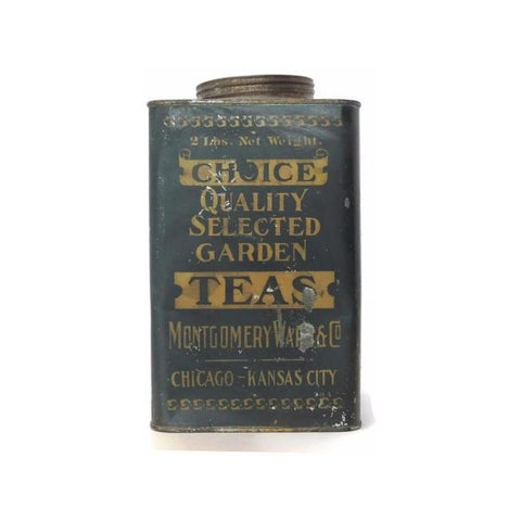 "Vintage Montgomery Wards & Co. ""Choice Teas"" tin, Chicago - Kansas City (c 1920s) - Selective Salvage"