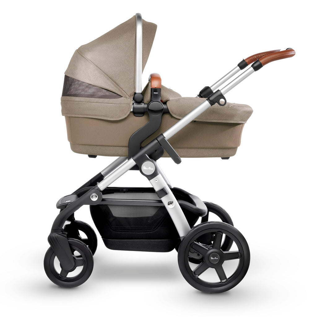 Silver Cross Wave Stroller with Bassinet in Linen