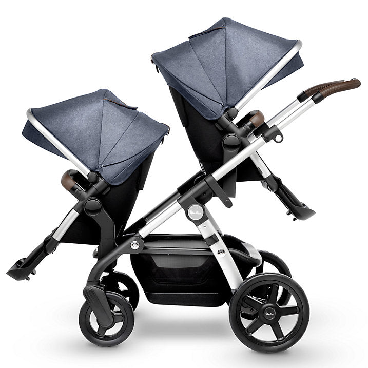 Silver Cross Wave Stroller with Tandem Seat in Midnight Blue