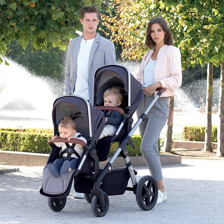 Family outing with the Silver Cross Wave Twin Stroller in Midnight Blue