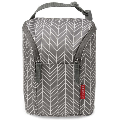 Skip Hop Grab & Go Double Bottle Bag in Grey Feather