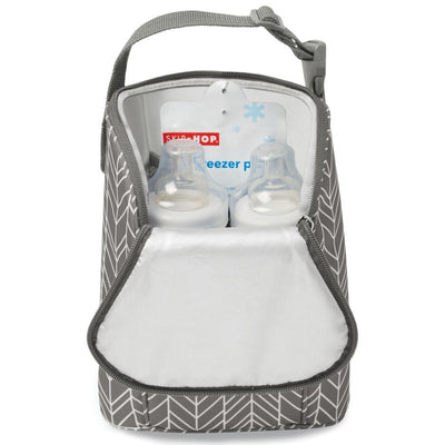 Skip Hop Grab & Go Double Bottle Bag in Grey Feather opened