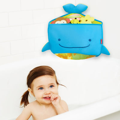 Girl in the bath with Skip Hop Moby Corner Bath Toy Organizer on the wall