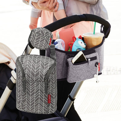 Skip Hop Grab & Go Double Bottle Bag in Grey Feather attached to stroller