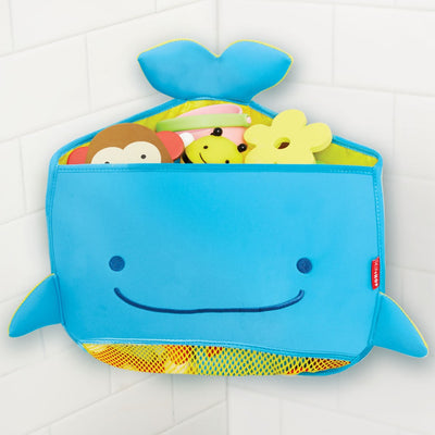 Skip Hop Moby Corner Bath Toy Organizer suctioned to corner with toys inside