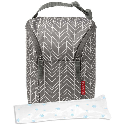 Skip Hop Grab & Go Double Bottle Bag in Grey Feather with ice pack