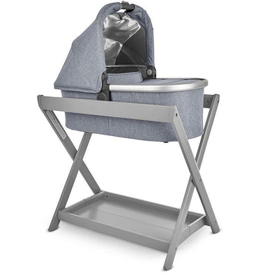UPPAbaby Bassinet V2 in Gregory on the Bassinet Stand in Grey