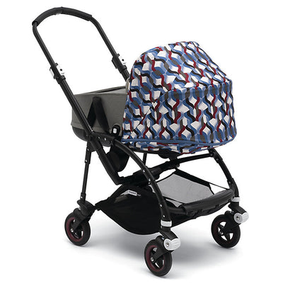 Bugaboo Bee⁵ Bassinet in Grey Melange with Waves Canopy on Stroller
