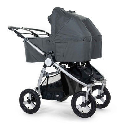 Two Bumbleride 2020 Indie Twin Bassinets in Dawn Grey on stroller
