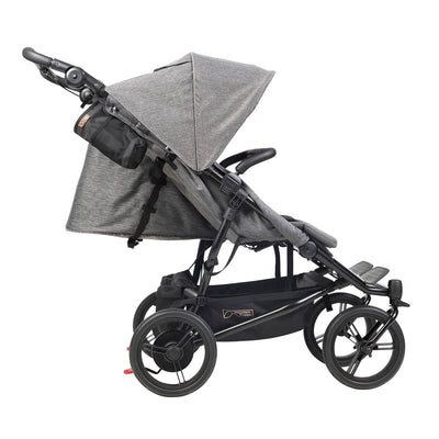 Mountain Buggy Duet Luxury Herringbone Double Stroller side view with seats reclined