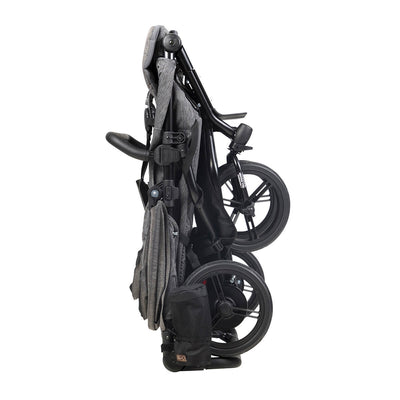 Mountain Buggy Duet Luxury Herringbone Double Stroller folded and standing