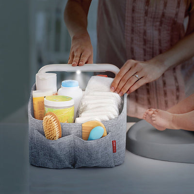 Skip Hop Light Up Diaper Caddy in the dark with light on