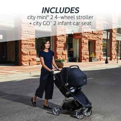 Mom pushing the Baby Jogger City Mini® 2 4-Wheel Travel System
