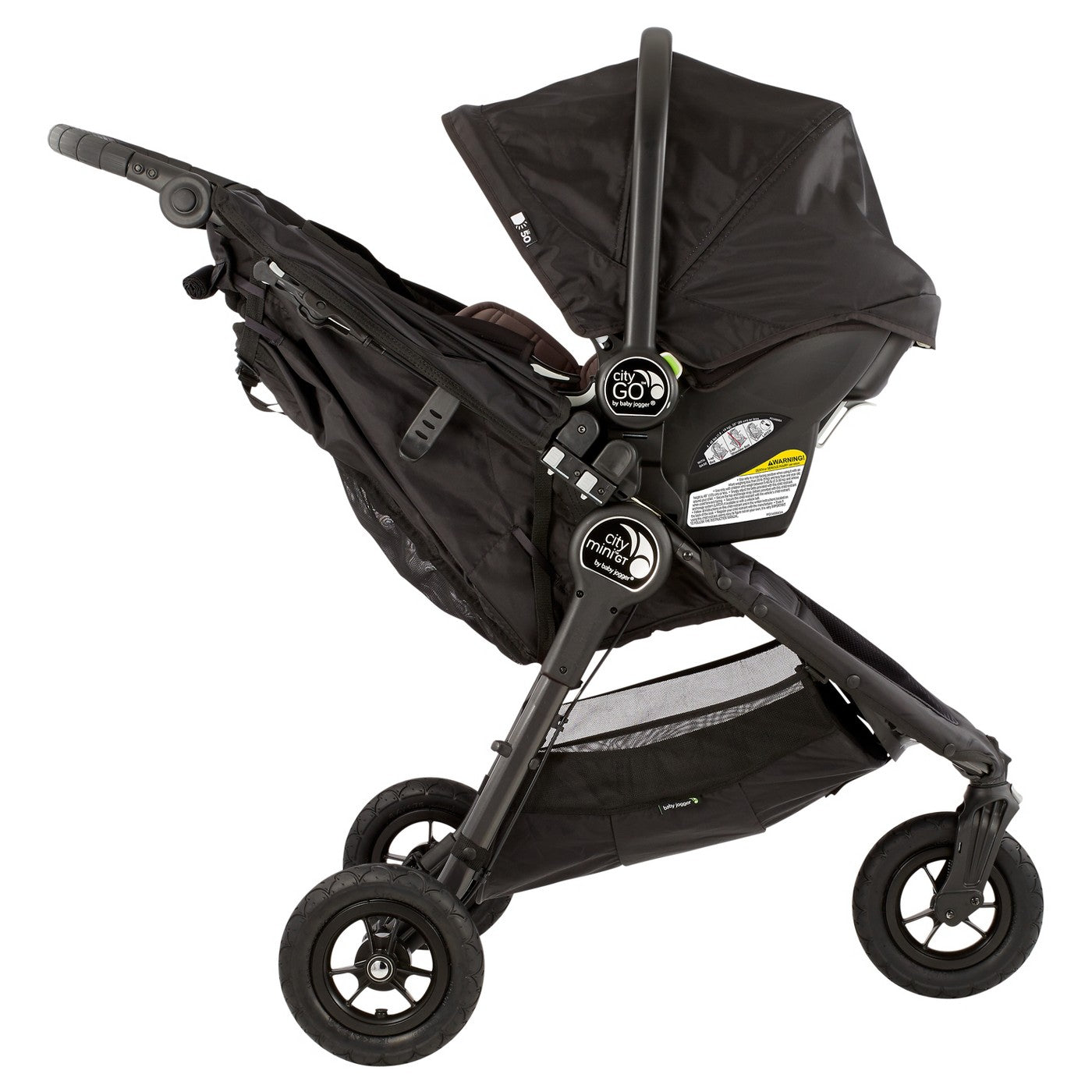 Baby Jogger City MiniR GT Travel System In Black And Gray With Car Seat Attached