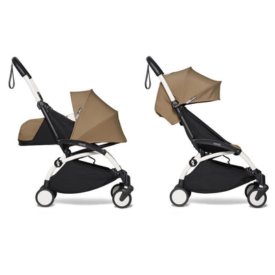Babyzen YOYO² Complete Stroller Bundle With White Frame in Toffee