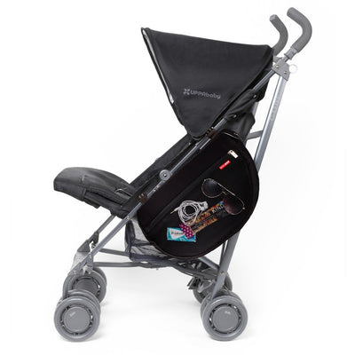 Skip Hop Grab & Go Stroller Saddle Bag in Black with items inside