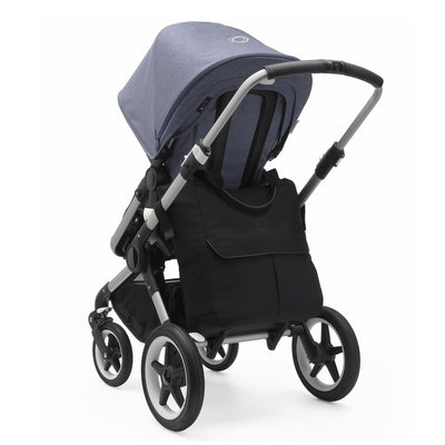Bugaboo Mammoth Bag in Black attached to Bugaboo Fox stroller