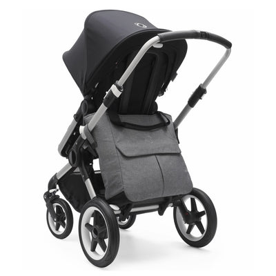 Bugaboo Mammoth Bag in Grey Melange attached to Bugaboo Fox stroller