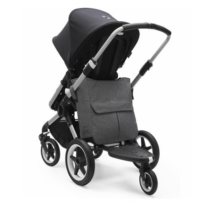 Bugaboo Mammoth Bag in Grey Melange attached to Bugaboo Fox stroller with Comfort Wheeled Board attached