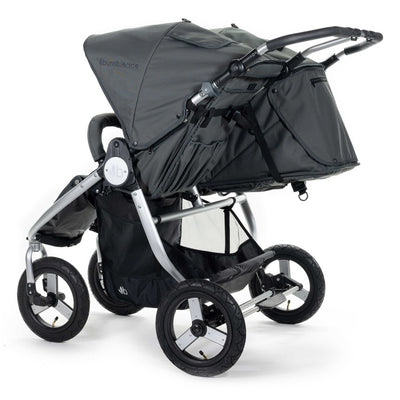 Bumbleride 2020 Indie Twin Stroller in Dawn Grey back view
