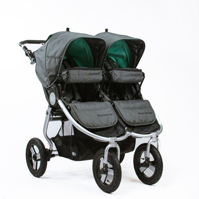 Two Bumbleride Indie Twin Snack Packs in Dawn Grey on the Indie Twin stroller