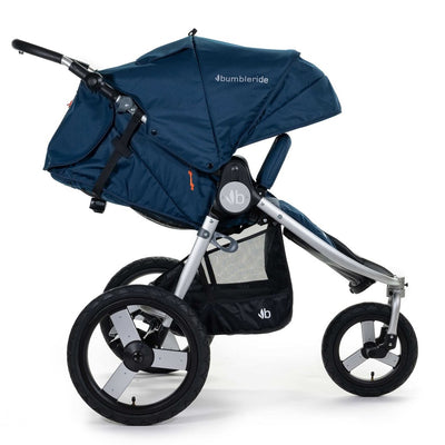Bumbleride 2020 Speed Running Stroller in Maritime Blue with seat reclined