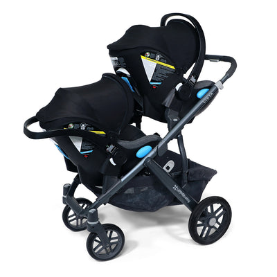 Two Clek Liing Infant Car Seats on the UPPAbaby Vista stroller