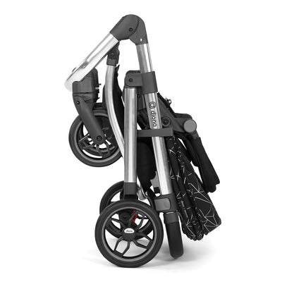 Diono Excurze Luxe Stroller in Black Platinum folded