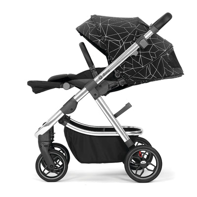 Diono Excurze Luxe Stroller in Black Platinum side view and reclined