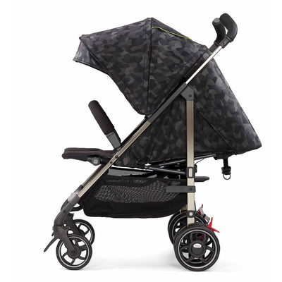 Diono Flexa Luxe Compact Stroller in Black Camo side view and reclined